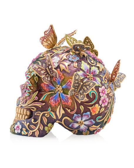 Jay Strongwater Skull with Butterflies Figurine