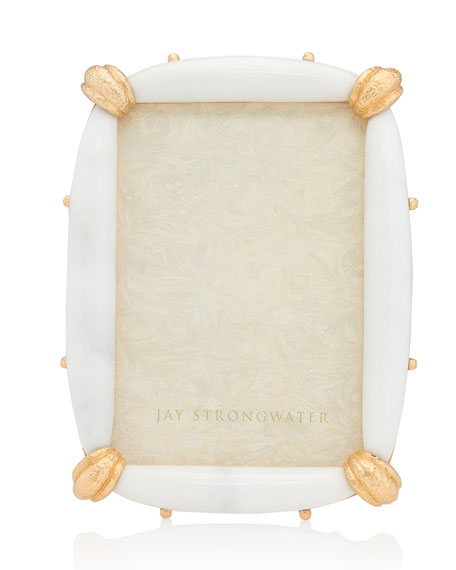 Jay Strongwater White Marble Picture Frame, 5