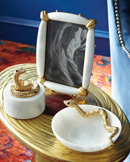 White Marble Snake Bowl
