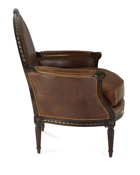 Markel Leather Bergere Chair