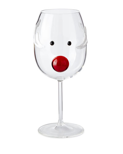 Reindeer Wine Glass