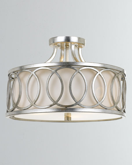 Crystorama Graham 3-Light Antiqued Silver Ceiling Mount