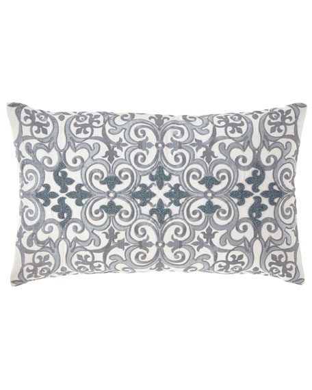 Callisto Home Darboux Scroll Embroidered Decorative Pillow