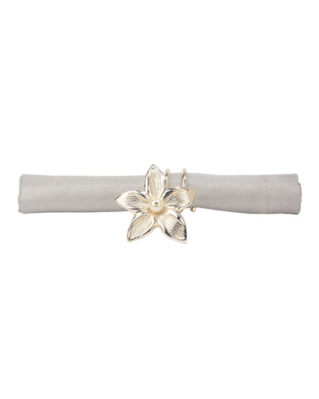 Nomi K Silver Flower Vine Wrapped Napkin Ring