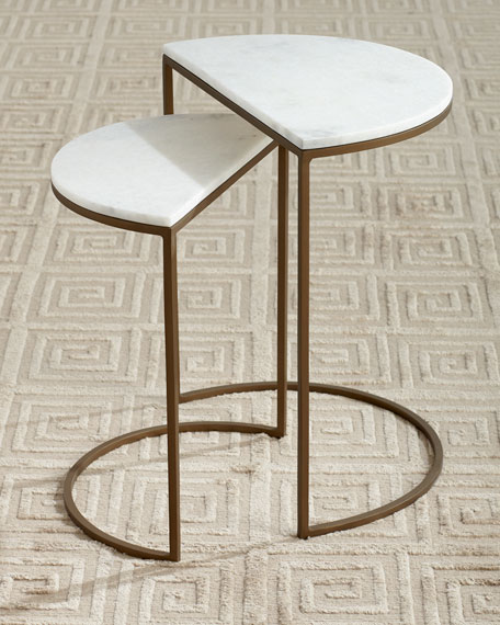 Image 1 of 2: Metta Marble-Top Nesting Tables