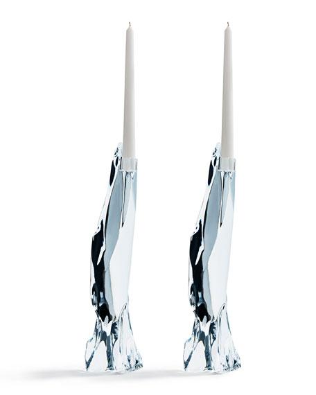 Atelier Swarovski Glaciarium Large Candlestick Holders, Set of 2