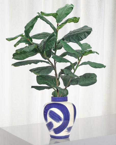 NDI Fiddle Leaf Floral Arrangement in Blue & White Ceramic Jar