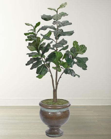 NDI Fiddle Leaf Floral Arrangement in Bronze Pedestal Urn