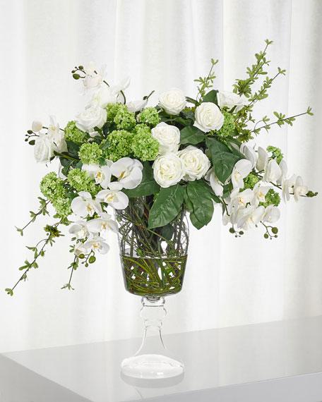 NDI Peony Snowball White & Green Floral Arrangement