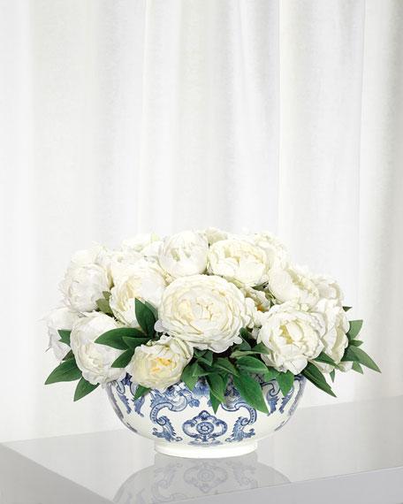 NDI Peony Floral Arrangement in Porcelain Bowl