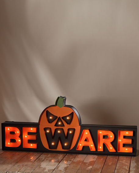 Bethany Lowe BEWARE Marquee Light-Up Halloween Sign