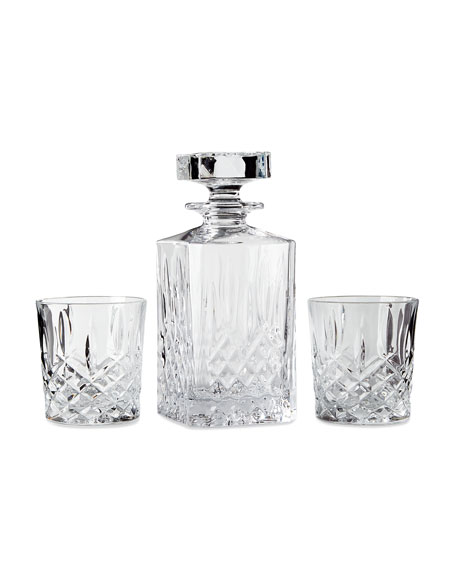 Marquis By Waterford Markham Square Decanter & Two Double Old-Fashioned Glasses
