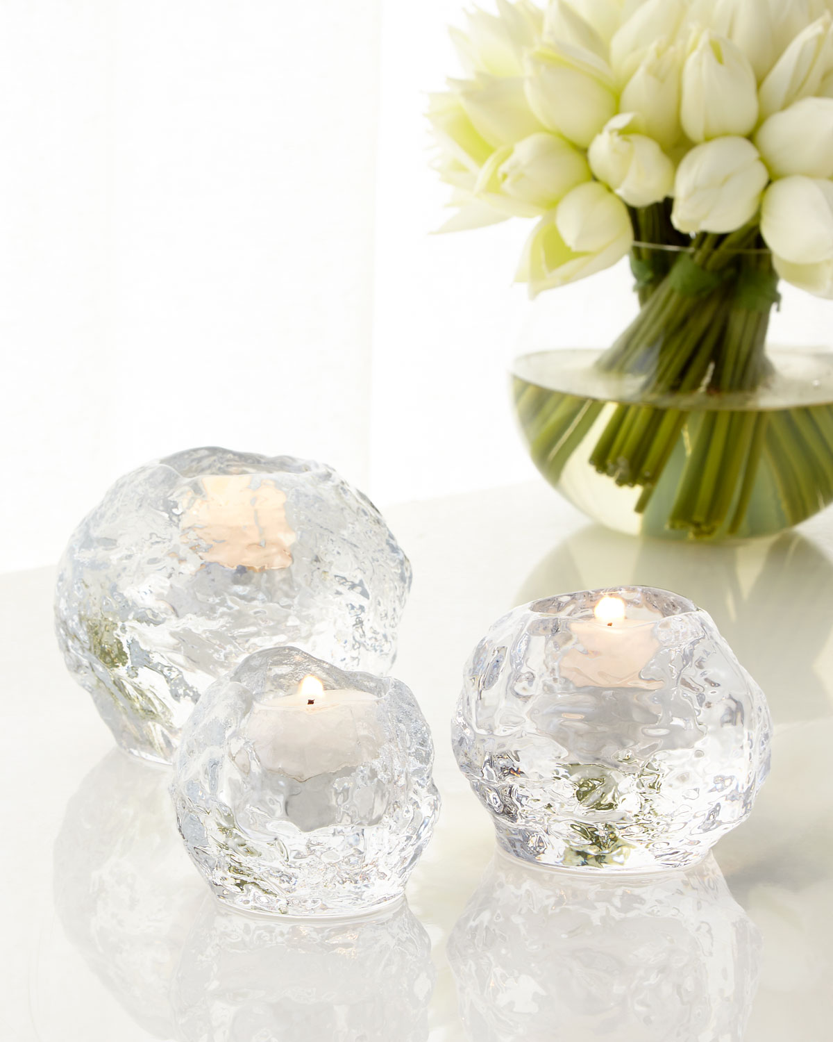 Snowball Votive Set by Orrefors Kosta Boda