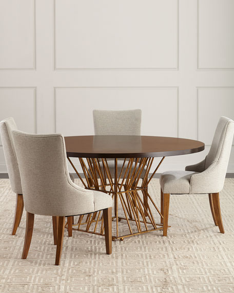 Image 2 of 4: Ambella Eiffel Gold Base Dining Table