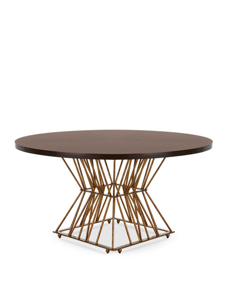 Image 3 of 4: Ambella Eiffel Gold Base Dining Table