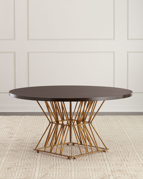 Image 1 of 4: Ambella Eiffel Gold Base Dining Table