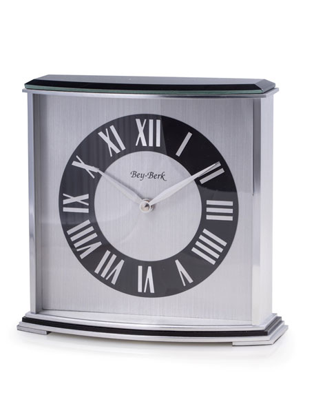 Bey-Berk Lacquered Wood/Steel Desk Clock