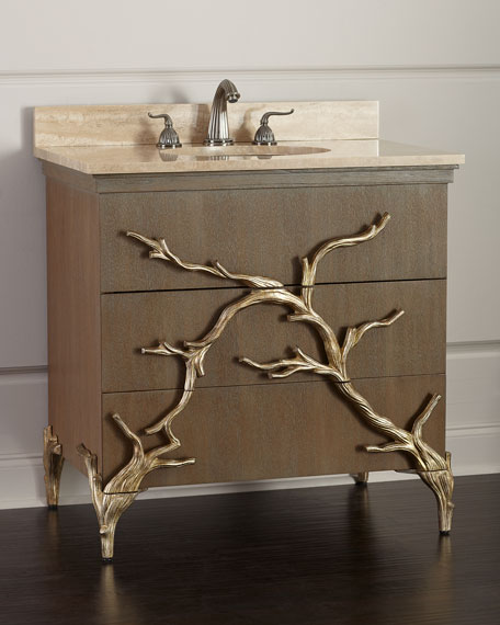 Ambella Branch Travertine-Top Vanity with Porcelain Sink