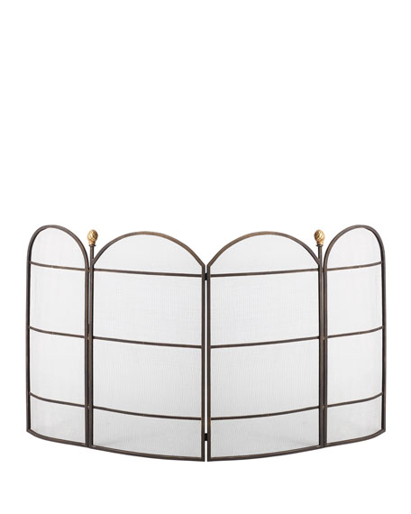 Dr. Livingston Curved 4-Panel Fireplace Screen