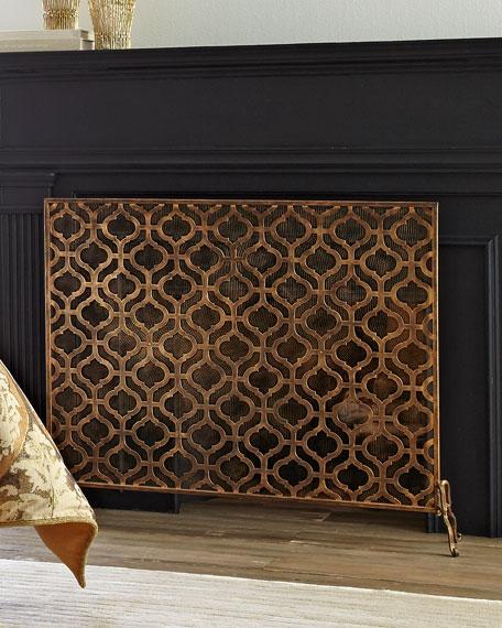 Oversize Single-Panel Iron Fireplace Screen