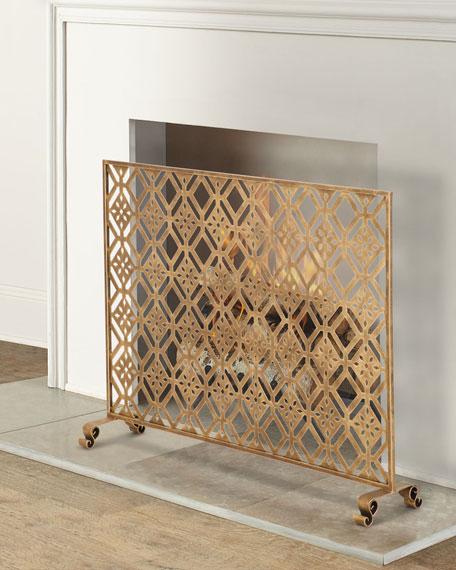 Diamond Tole Single Panel Fireplace Screen