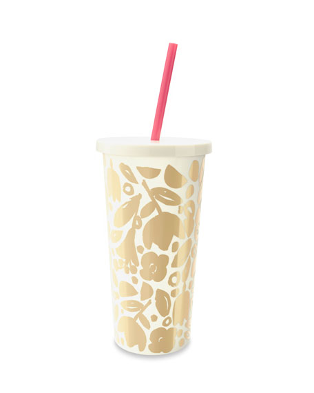 kate spade new york golden floral tumbler with straw