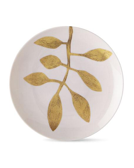 Haviland & Parlon Daphne Camelia Gold-Leaf Dessert Plate, Pink