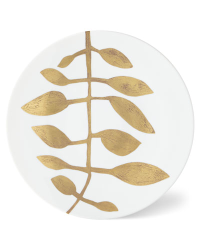 Daphne White Gold-Leaf Buffet Plate