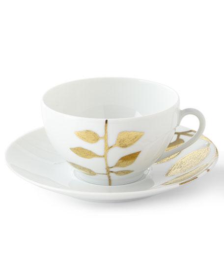 Haviland & Parlon Daphne White Gold-Leaf Breakfast Cup & Saucer