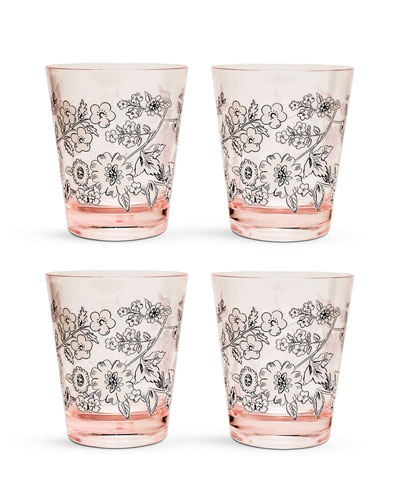 Coral Floral Tumblers  Set of 4