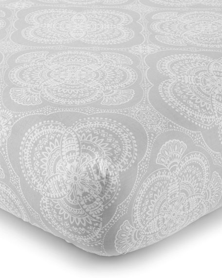 Levtex Willow Medallion Fitted Crib Sheet, Gray