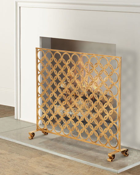 Antiqued Gold Double Circle Design Fireplace Screen