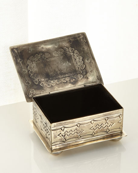 J. Alexander Rustic Silver Small Stamped Box with Turquoise Stone