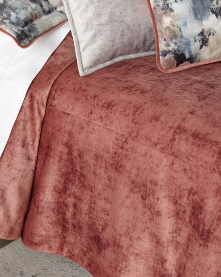 Austin Horn Collection All in Bloom Solid Velvet 3-Piece Queen Coverlet Set