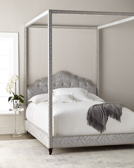 Haute House Athena Zebra King Canopy Bed