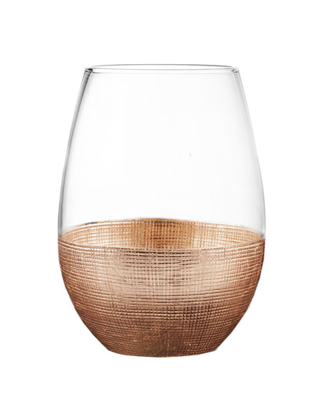 Linen Copper Stemless Wine Glass, Set of 4