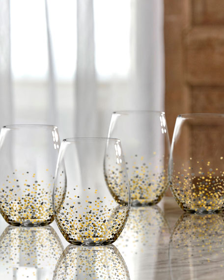 Black & Gold Confetti Stemless Flutes, Set of 4
