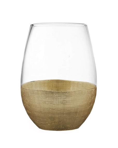 Linen Gold Stemless Wine Glasses, Set of 4