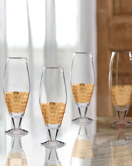 Daphne Gold Prosecco Wine Glasses, Set of 4