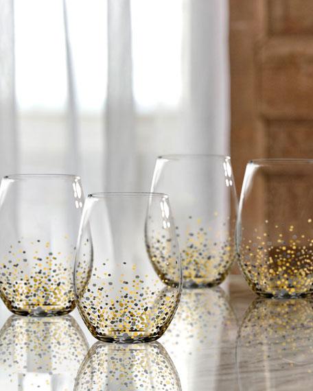 Ombre Confetti Stemless Wine Glasses, Set of 4