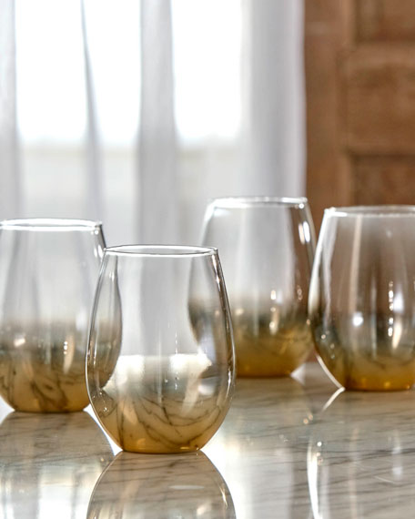 Ombre Gold Stemless Wine Glasses, Set of 4