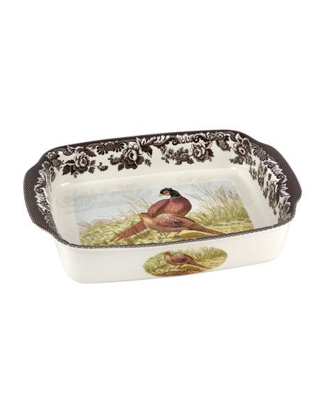 Spode Woodland Pheasant Rectangular Handled Baking Dish