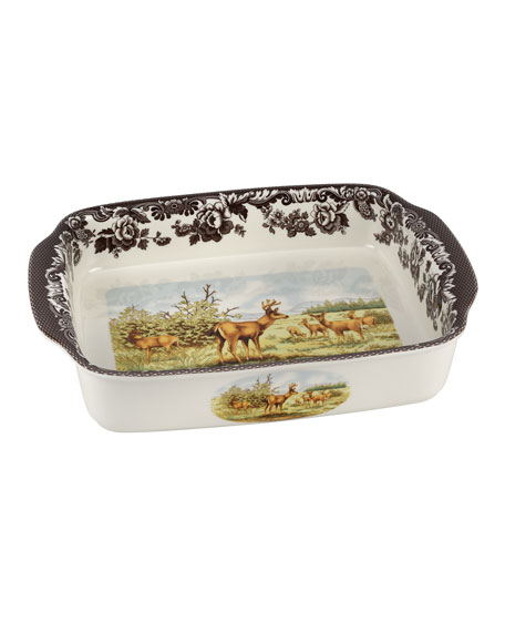 Spode Woodland American Wildlife Rectangular Handled Baking Dish