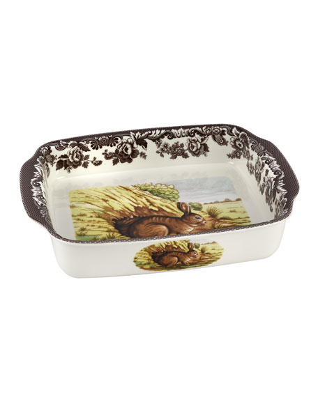 Spode Woodland Rabbit Rectangular Handled Baking Dish