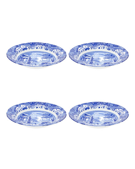 Spode Blue Italian Soup Plates, Set of 4
