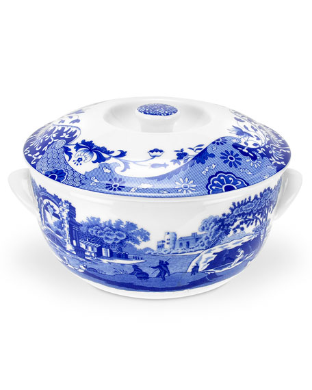 Spode Blue Italian Round Covered Deep Dish