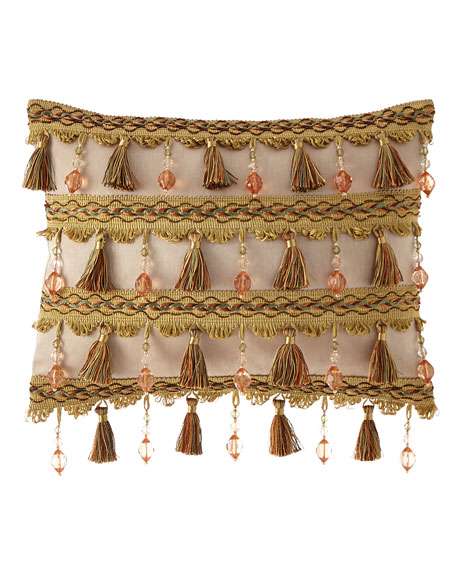 Dian Austin Couture Home Viburnum Breakfast Pillow with Tassels and Beads
