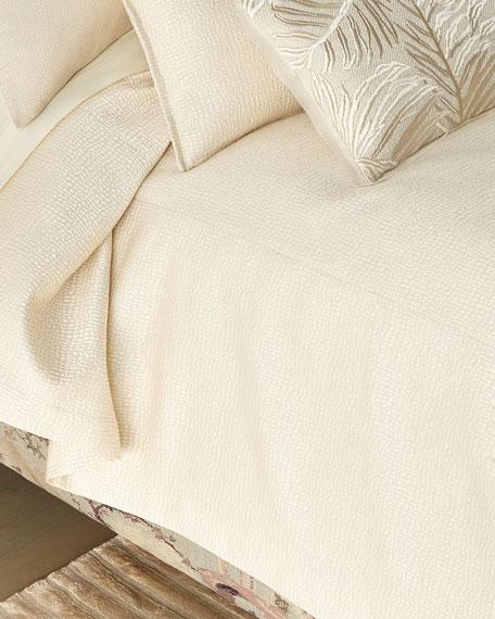 Fino Lino Linen & Lace Pertila Super King Coverlet with Polivia Backing