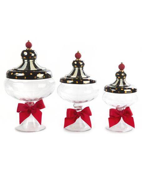 MacKenzie-Childs Black Tie Apothecary Small Jar