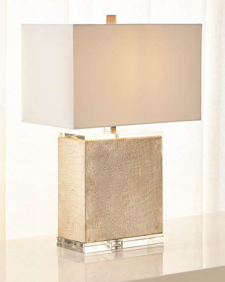 Regina Andrew Design Croc-Embossed Table Lamp with Linen Shade
